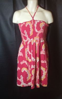 H & M Smocked Sundress Size 12 Pink with white and yellow design  Cotton Blend #HM #Sundress #SummerBeach