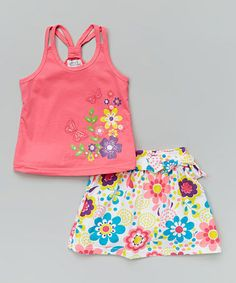 Love this Pink Butterfly Tank & Floral Skirt - Infant, Toddler & Girls on #zulily! #zulilyfinds