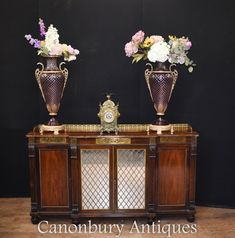 Regency Chiffonier Sideboard in Rosewood Antique Circa 1810 Order today Mahogany Sideboard, Antique Sideboard, Sideboard Cabinet, Mirror Buffet, Mirror Door, Antiques For Sale, Center Table, Table Cards, Regency