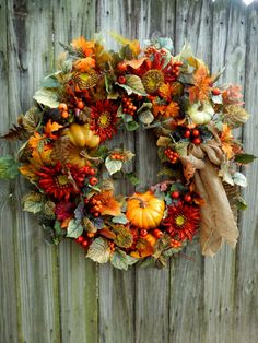 Fall Wreath  XL Fall WreathDoor Wreath   Autumn by forevermore1