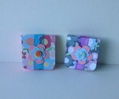 Mini Notebooks Set of Two,Handmade Notebooks,Bright Floral Print. £2.80