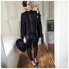 """""""En entier du réveillon ⚫️ • Hat #maisonmichel (from @lagrandeboutiquelgb) • Lace Jacket #thomsen (old) • Shirt #harpeparis (from @shopinsidecloset) •…"""""""