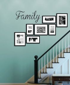 Family - Wall Decal, Vinyl Sticker Cut from premium matte vinyl, it is easy to install and will last Picture Wall Staircase, Gallery Wall Staircase, Staircase Wall Decor, Stairway Decorating, Stair Walls, Picture Frames On The Wall Stairs, Family Pictures On Wall, Display Family Photos, Hanging Pictures On The Wall