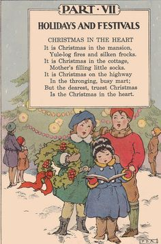 """Christmas poem    Elson Basic Readers, Book Four by William H. Elson and William S. Gray. Published by Scott, Foresman and Co., 1931. Many of the illustrations done by """"Rice"""" or """"R.J.R."""""""