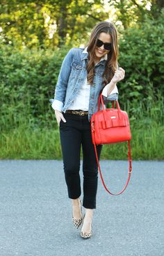 black ankle pants + leopard flats + red handbag + denim jacket