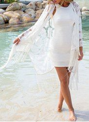 Chic Collarless Long Sleeve Fringed Cover Up For Women (WHITE,ONE SIZE(FIT SIZE XS TO M)) | Sammydress.com Mobile