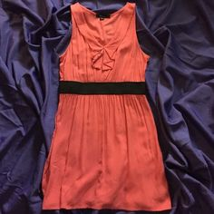 Coral mini dress Super cute, you can dress up or down also looks cute with black leggings and heels. Soft coral color with black waistband. Falls at mid thigh. Women's medium Forever 21 Dresses Mini