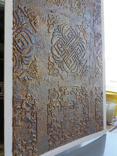 Discover thousands of images about Rust&stencil&plaster Stencil Designs, Wall Art Designs, Wall Design, Venetian Plaster Walls, Plaster Art, Faux Walls, Textured Walls, Decorative Plaster, Faux Painting