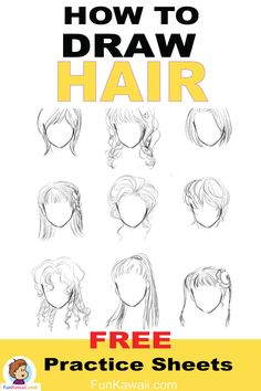 How to draw Hair - tutorial - Drawing Poses, Manga Drawing, Drawing Tips, Drawing Hair, Drawing Stuff, Drawing Ideas, Drawing Tutorials For Beginners, Art Tutorials, How To Draw Hair