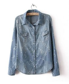 5cd602e0e12 To find out about the Light Blue Long Sleeve Constellation Print Denim  Blouse at SHEIN, part of our latest Blouses ready to shop online today!
