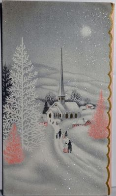 Winter Church Scene Pink Trees Vintage Christmas Card - looks like New England. Vintage Christmas Images, Christmas Scenes, Old Fashioned Christmas, Christmas Past, Retro Christmas, Vintage Holiday, Christmas Pictures, Vintage Winter, Winter Christmas