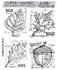 Autumn Blueprint stamp set from Tim Holtz - interesting idea!
