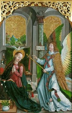 1517, Master Georgius ,The Annunciation.tempera and gold on wood,145×104cm.  Czartoryski Museum.