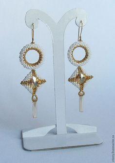 Купить Серьги Goldie - белый, золотой, золотистый, серебро, серьги, серьги длинные, украшения из бисера