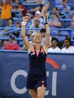 Magdalena Rybarikova, from Slovakia, celebrates as she defeats Andrea Petkovic, from Germany, during a finals match at the Citi Open tennis tournament, Sunday, Aug. 4, 2013 in Washington. Rybarikova won 6-4, 7-6. (AP)