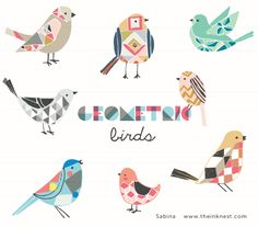 CLIP ART - Geometric Birds - for commercial and personal use