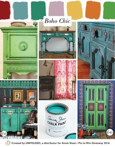 Boho Chic Style Moodboard | Left top: Antibes Green Chalk Paint® by Love Street Vintage, L bottom: Florence + Graphite Chalk Paint® by Janice Issitt, Center top: Amsterdam Green + Florence Chalk Paint® by When Modern Was, Center mid: Emperor's Silk + Henrietta Chalk Paint® by Janice Issitt, Center bottom: Florence Chalk Paint® by Annie Sloan in , Right top: Florence Chalk Paint® by Shabby Chic, R bottom: Florence, Antibes Green, Napoleonic Blue, Barcelona Orange Chalk Paint® by Janice Issitt