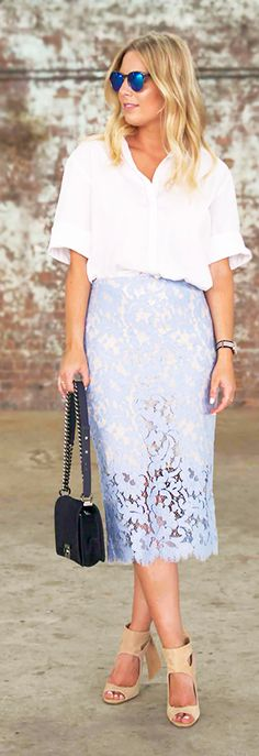 Baby Blue Lace Pencil Skirt Inspiration Dress