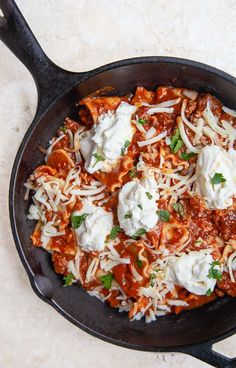 Skillet Lasagna for two
