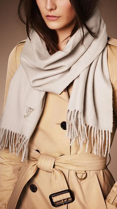 Burberry Stone Heritage Cashmere Scarf - A soft brushed cashmere scarf embroidered with the Equestrian Knight. To create a subtle lustre and soft texture, the cashmere is washed in spring water, then woven on traditional looms and brushed with natural teasels. Discover the scarves collection at Burberry.com