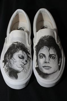 MICHAEL JACKSON PORTRAIT VANS SLIP ON CUSTOM SHOES BY MATT CORY