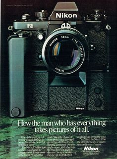 Items similar to 1981 Advertisement Nikon How The Man Who Has Everything Takes Pictures Of It All Photographer Camera Studio Wall Art Decor on Etsy Old Cameras, Cameras For Sale, Vintage Cameras, Nikon Digital Camera, Camera Nikon, Digital Slr, Dslr Photography Tips, Photography Equipment, Film Photography
