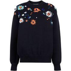 Por Victoria Victoria Beckham Negro flor bordada suéter de punto