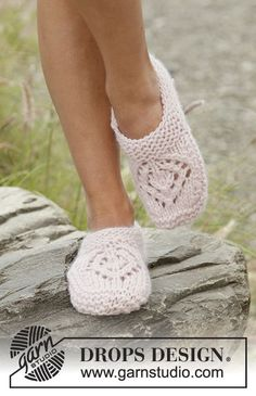 Knitted slippers with lace pattern and garter stitch in DROPS Andes. Sizes 35 - 42.
