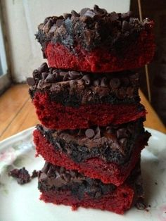 Melt-in-your-mouth Red Velvet brownies! Pic from: http://liliesandloafers.com/red-velvet-truffles/ Original recipe: http://pizzazzerie.com/recipes/valentines-day-red-velvet-oreo-truffle-brownie-bars