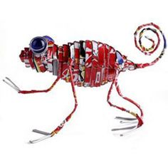 Tin Can Chameleon   Recycled wire, tin or aluminum cans with glass marble eyes