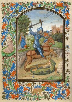 St. George Slaying the Dragon   Book of Hours   Illuminated by the Master of Jean Chevrot   ca. 1450