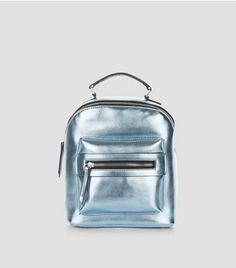 Blue Pocket Front Mini Backpack | New Look
