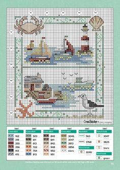 from Cross stitcher 2016 06 Cross Stitch Sea, Cross Stitch Alphabet, Cross Stitch Samplers, Cross Stitch Charts, Cross Stitch Designs, Cross Stitching, Cross Stitch Embroidery, Embroidery Patterns, Cross Stitch Patterns