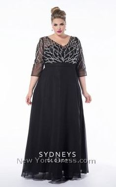 Bling 2015 Plus Size Prom Evening Gowns With Sleeve V Neck See Through Bodice Floor Length A Line Chiffon Beaded Mother of The Bride Dresses Plus Size Formal Dresses, Plus Size Gowns, Trendy Dresses, Fashion Dresses, Formal Gowns, Dress Formal, Formal Prom, Plus Size Evening Gown, Evening Gowns With Sleeves