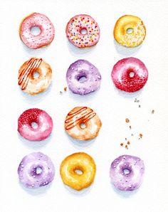 Colorful Doughnuts - ORIGINAL Painting (Still Life, Kitchen Wall Art, Watercolour Food Illustration) 8x10