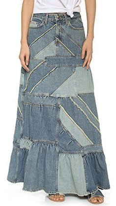 Marc by Marc Jacobs Patchwork Denim Skirt Couture Mode, Couture Fashion, Jeans Refashion, Couture Skirts, Estilo Denim, Denim Ideas, Jeans Rock, Denim Patchwork, Recycled Denim
