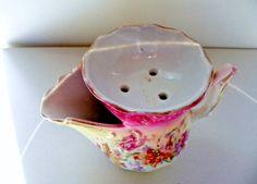 Vintage Victorian Era Shaving Scuttle Mug Scalloped Edge Florals Gold Trim /M3