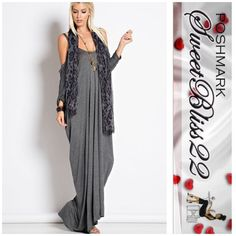 Now Available Cold Shoulder Gray Maxi Favorite closet item! Fashionable yet comfy! Add a scarf either way you are fabulous! Don't miss out! Available in Small and Large Don't miss out! Dresses Maxi