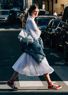 midi skirt & high-top sneakers #style #fashion #kicks #adidas #streetstyle