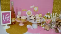 Pink Gold party decorations