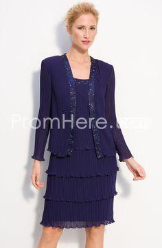Fraceful+Sequins/Beaded+Tiered+A-Line+Scoop+Neckline+Knee-Length+Mother+Dresses+