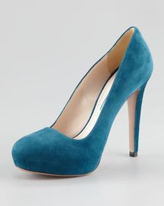 Saw these in person last night... pretty damn damn... check em' out...    S8661 Prada Suede Internal-Platform Pump, Marine