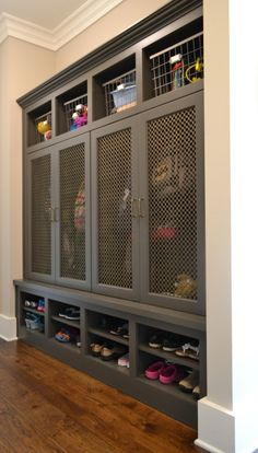 Metal Grill Mudroom Locker Doors - Design photos, ideas and inspiration. Amazing gallery of interior design and decorating ideas of Metal Grill Mudroom Locker Doors in laundry/mudrooms by elite interior designers. Boot Room, Lockers, Mudroom, Laundry Mud Room, Mudroom Design, Metal Grill, Locker Storage, Grey Cabinets, Laundry Room
