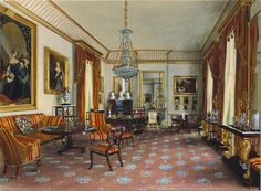 Although the official London residence of The Prince of Wales and The Duchess of Cornwall, Clarence House to a large extent maintains the arrangement of Qu. Clarence House, English Interior, Royal Residence, House Of Windsor, Interior Rendering, Interior Design, Mansions Homes, Royal Palace, Beautiful Interiors