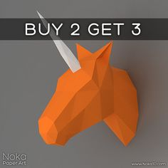 ♦ BUY 2 GET 3! ♦ Buy two 9$ models and get the 3rd one for FREE! Simply add 3 models to your cart and enter coupon code BUY2GET3 at checkout. • This listing is for a digital instant download PDF file • DIY template for creating a beautiful 3D model of a unicorn head to use as a wall