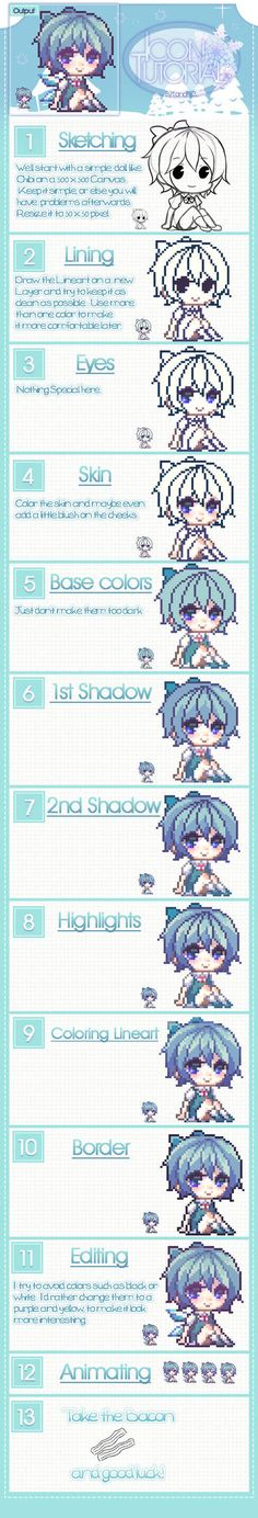 It's more of a Process than a Tutorial but oh well.I just can't explain stuff I still hope this will help some people~ I kinda wanted to re-make my old Pixel tutorial.such an old thing Digital Art Tutorial, Digital Painting Tutorials, Art Tutorials, How To Pixel Art, Pixel Drawing, Anime Pixel Art, Pixel Characters, 8bit Art, Pixel Art Games