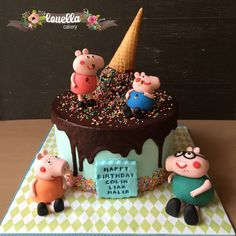 Peppa Pig and family cake. Upside  down ice cream cake.
