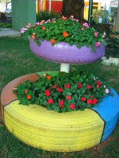 Magia das Plantas: Decoração de jardim com pneus reciclados