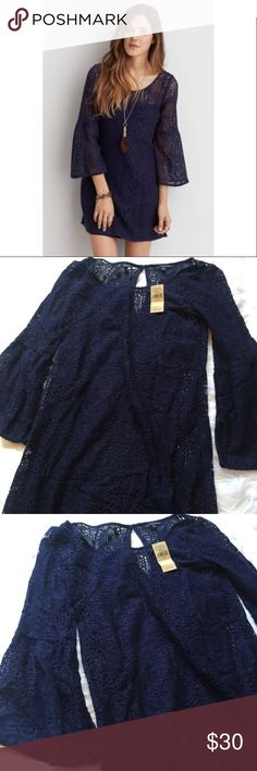 NWT Bell Sleeved Crochet Dress New with tags. American Eagle size XS. Navy in color. Feel free to ask any additional questions.   💕 please make offers through offer button 💰 bundle for a 20% off discount  🚬🐶 smoke & pet free home  🚫 sorry no trades American Eagle Outfitters Dresses Mini