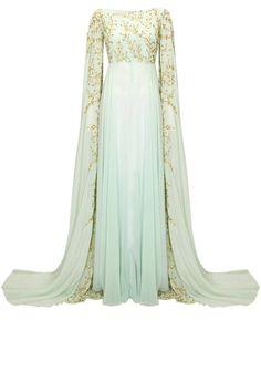 Powder blue embroidered cape hands gown by Prathyusha Garimella. Fairytale Gown, Fairytale Fashion, Latest Designer Sarees, Designer Dresses, Indian Dresses, Indian Outfits, Salwar Kameez, Pretty Dresses, Beautiful Dresses